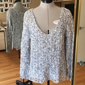 Free People Blue and Ivory Open Knit Sweater XS